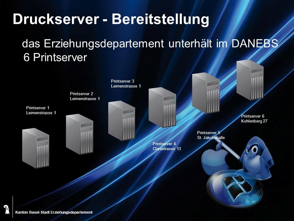 Kanton Basel-Stadt Druckserver - Bereitstellung das Erziehungsdepartement unterhält im DANEBS 6 Printserver Printserver 1 Leimenstrasse 1 Printserver