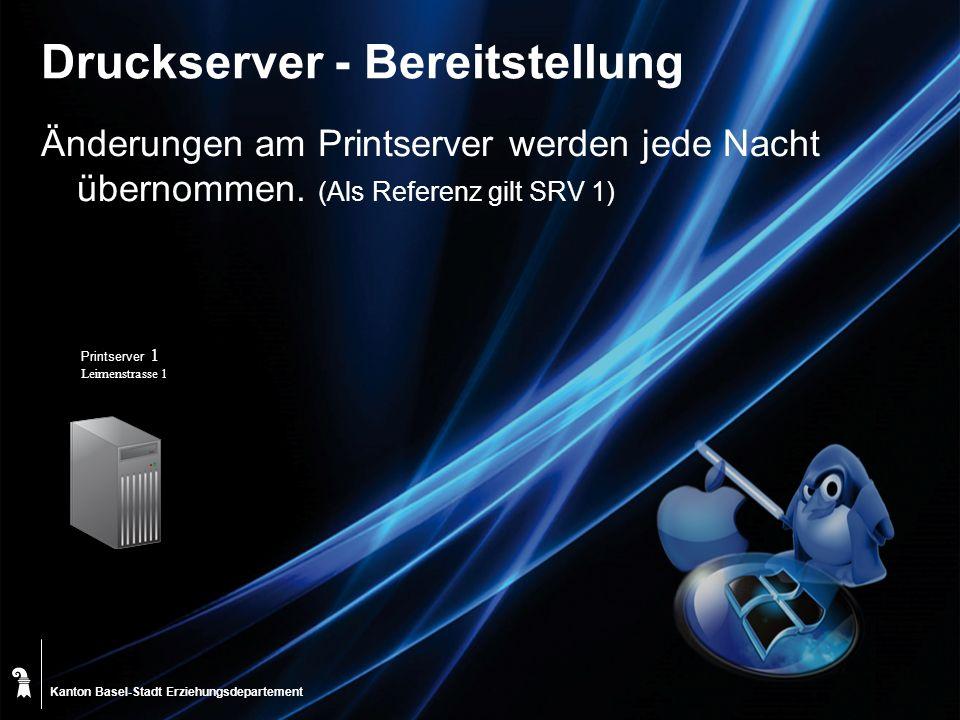 Kanton Basel-Stadt Druckserver - Bereitstellung Änderungen am Printserver werden jede Nacht übernommen. (Als Referenz gilt SRV 1) Erziehungsdepartemen
