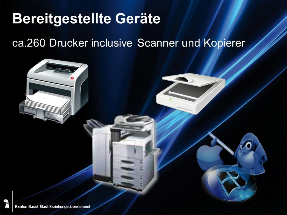 Kanton Basel-Stadt Bereitgestellte Geräte ca.260 Drucker inclusive Scanner und Kopierer Erziehungsdepartement