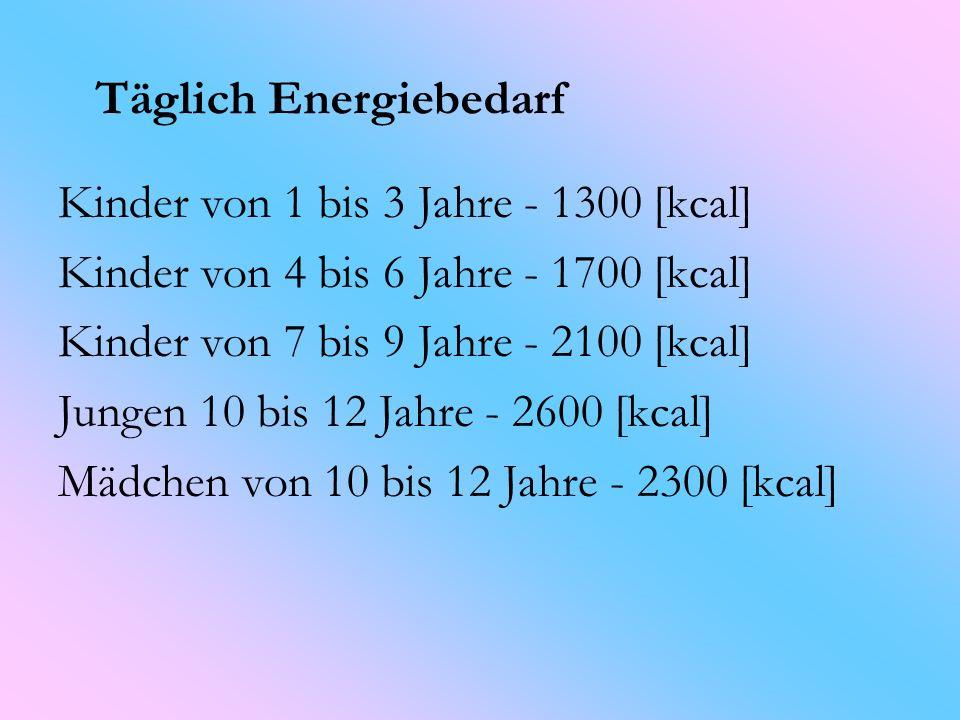 Die Nachfrage nach wichtigen Nährstoffen für Kinder im Alter von 1 - 12 Jahre Eiweiß: 45 bis 75 Gramm Kohlenhydrate: 165 bis 320 Gramm Fett: 50-80 Gramm