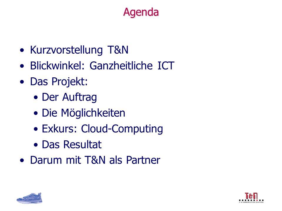 Agenda Kurzvorstellung T&N Blickwinkel: Ganzheitliche ICT Das Projekt: Der Auftrag Die Möglichkeiten Exkurs: Cloud-Computing Das Resultat Darum mit T&N als Partner