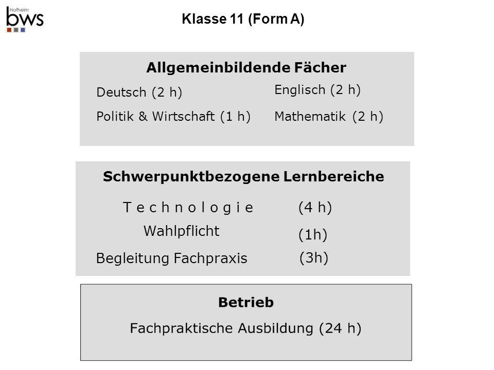 Klasse 12 (A und B) Schwerpunktübergreifend Religion /Ethik (2h) Deutsch(4h)Englisch(4h) Politik &Wirtschaft (2h)Mathematik(4h) Chemie(1h) Sport(1h) Physik(1h) Schwerpunktbezogen Technik(9h) Wahlpflicht(3h)