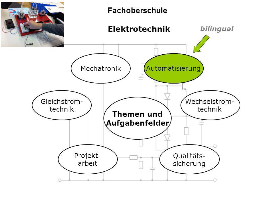 Elektrotechnik Fachoberschule Themen und Aufgabenfelder Projekt- arbeit Qualitäts- sicherung Gleichstrom- technik Wechselstrom- technik Mechatronik Automatisierung bilingual