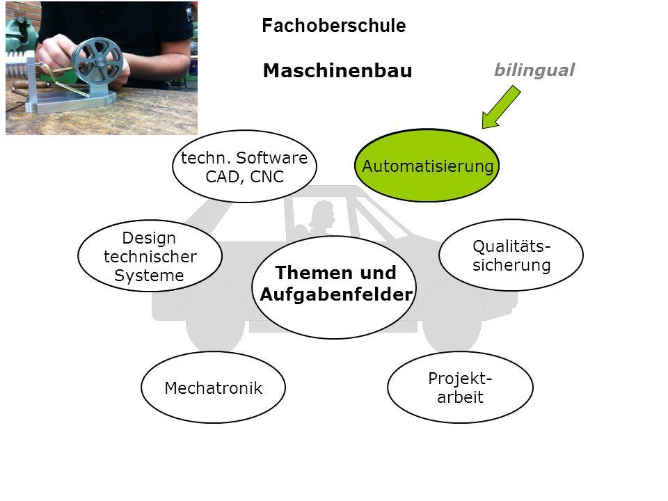 Informationstechnik Fachoberschule Webdesign Software- design Datenbanken Netzwerk- technik Projekt- arbeit Themen und Aufgabenfelder Prozess- steuerung Prozess- steuerung Prozess- steuerung bilingual