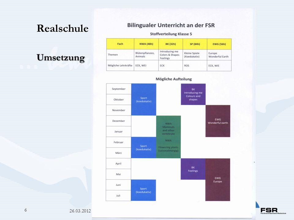… bewusst-er-leben 26.03.2012 Bilingualer Zug OB 6 Realschule mit bilingualem Zug Umsetzung