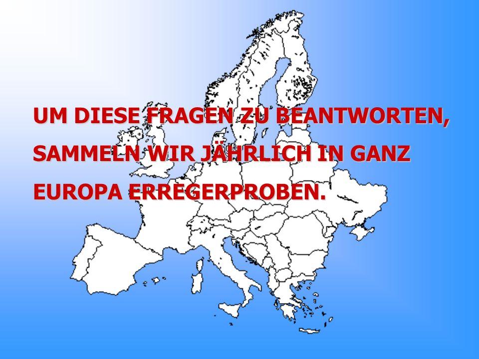 UM DIESE FRAGEN ZU BEANTWORTEN, SAMMELN WIR JÄHRLICH IN GANZ EUROPA ERREGERPROBEN.
