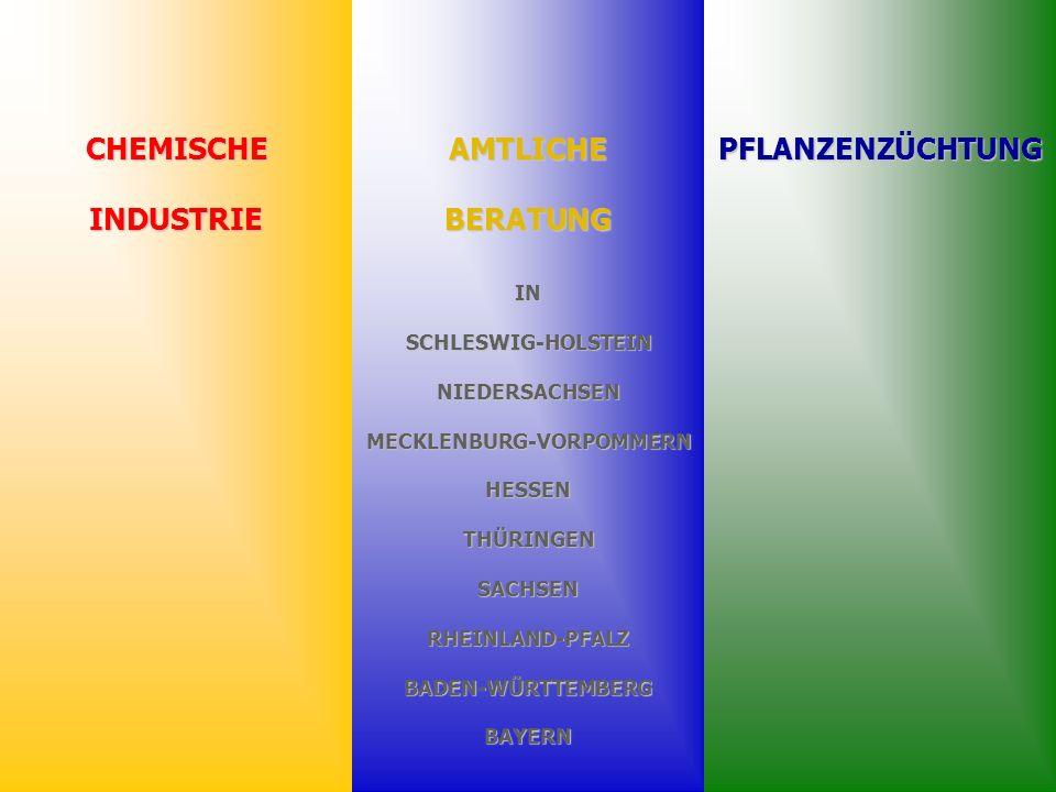 CHEMISCHEINDUSTRIEPFLANZENZÜCHTUNGAMTLICHEBERATUNG INSCHLESWIG-HOLSTEINNIEDERSACHSENMECKLENBURG-VORPOMMERNHESSENTHÜRINGENSACHSENRHEINLAND-PFALZBADEN-WÜRTTEMBERGBAYERN