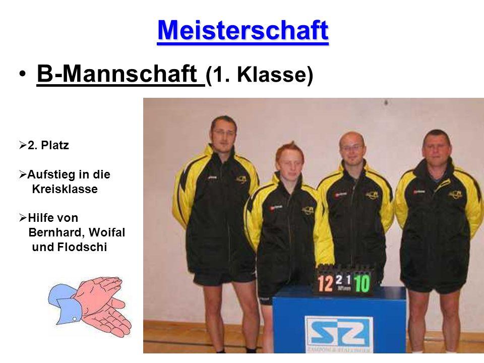 Meisterschaft B-Mannschaft (1. Klasse) 2. Platz Aufstieg in die Kreisklasse Hilfe von Bernhard, Woifal und Flodschi