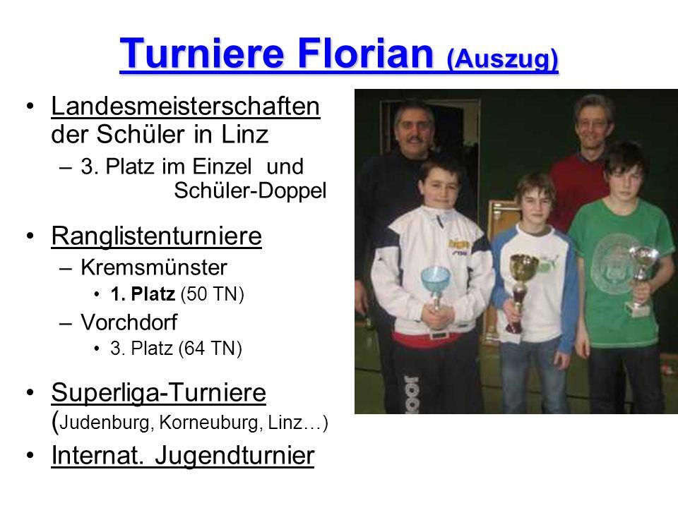 Turniere Florian (Auszug) Landesmeisterschaften der Schüler in Linz –3. Platz im Einzel und Schüler-Doppel Ranglistenturniere –Kremsmünster 1. Platz (