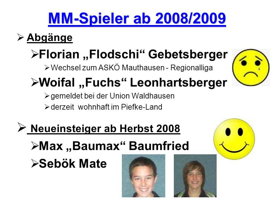 MM-Spieler ab 2008/2009 Abgänge Florian Flodschi Gebetsberger Wechsel zum ASKÖ Mauthausen - Regionalliga Woifal Fuchs Leonhartsberger gemeldet bei der