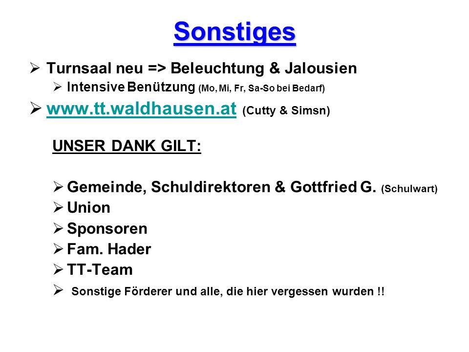Sonstiges Turnsaal neu => Beleuchtung & Jalousien Intensive Benützung (Mo, Mi, Fr, Sa-So bei Bedarf) www.tt.waldhausen.at (Cutty & Simsn) www.tt.waldh