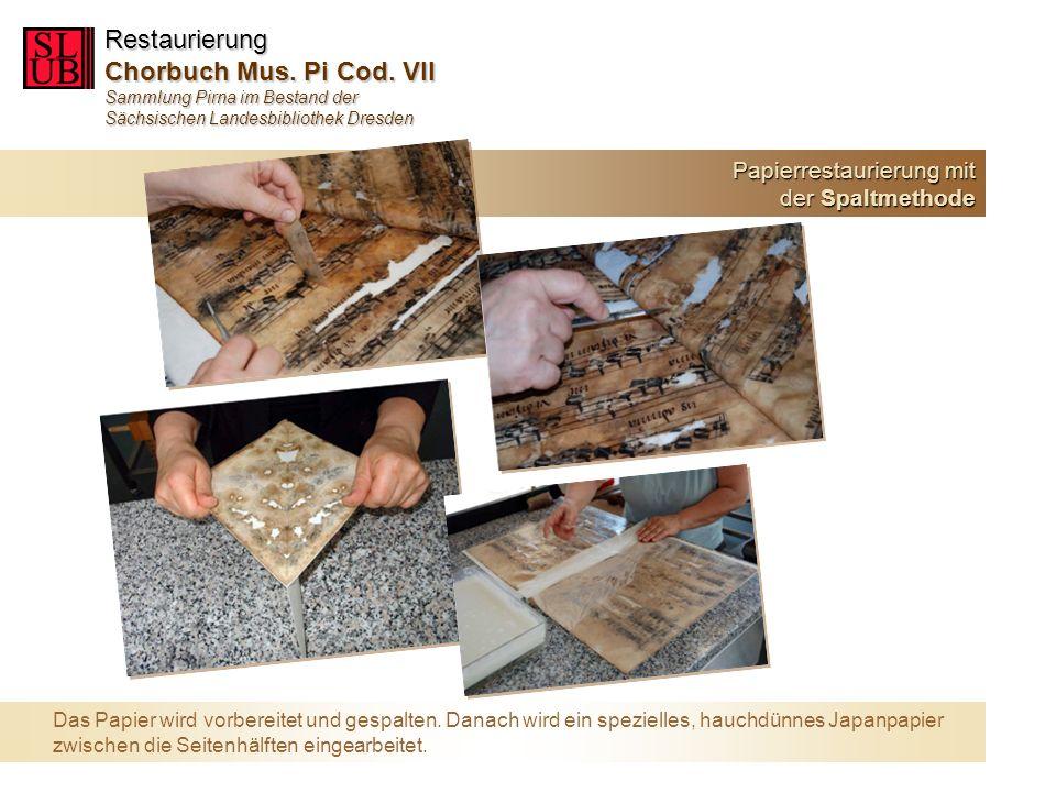 Nach der Verklebung erfolgen verschiedene Bäder und die Trocknung, schließlich die Zusammenstellung der Blätter zum Buchblock und die Restaurierung des Einbandes.