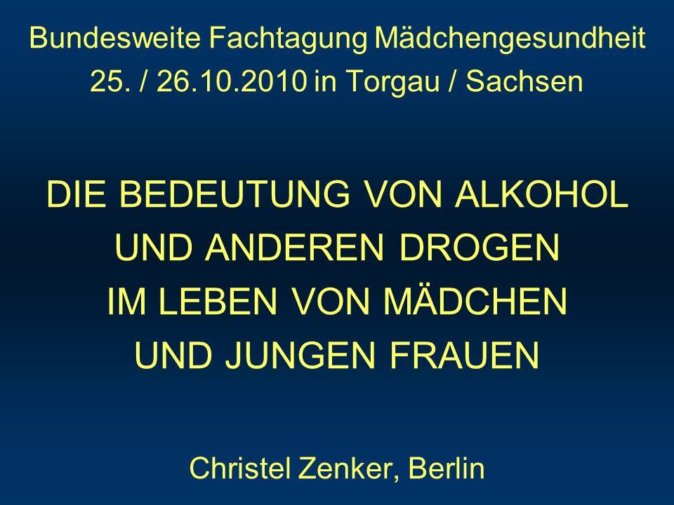 GENDERABHÄNGIGE BEWERTUNG DES ALKOHOLKONSUMS JAH - Studie Berlin (2009): 65 Mä., 113 Ju.; 60% 11-17 J.