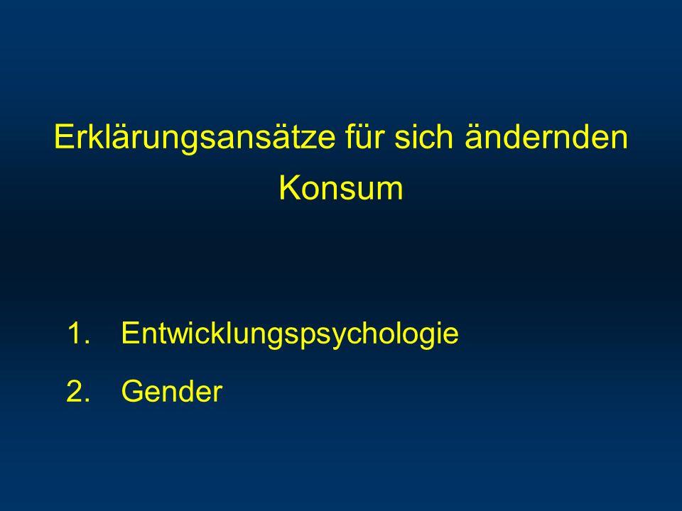 Erklärungsansätze für sich ändernden Konsum 1.Entwicklungspsychologie 2.Gender