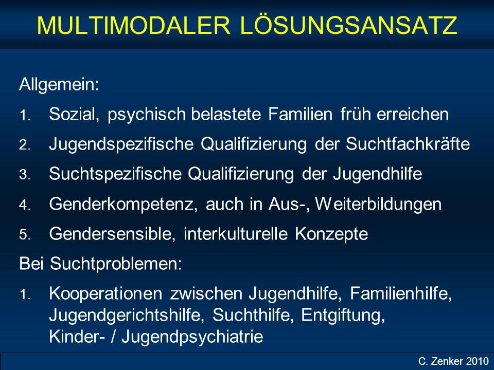 MULTIMODALER LÖSUNGSANSATZ Allgemein: 1.Sozial, psychisch belastete Familien früh erreichen 2.