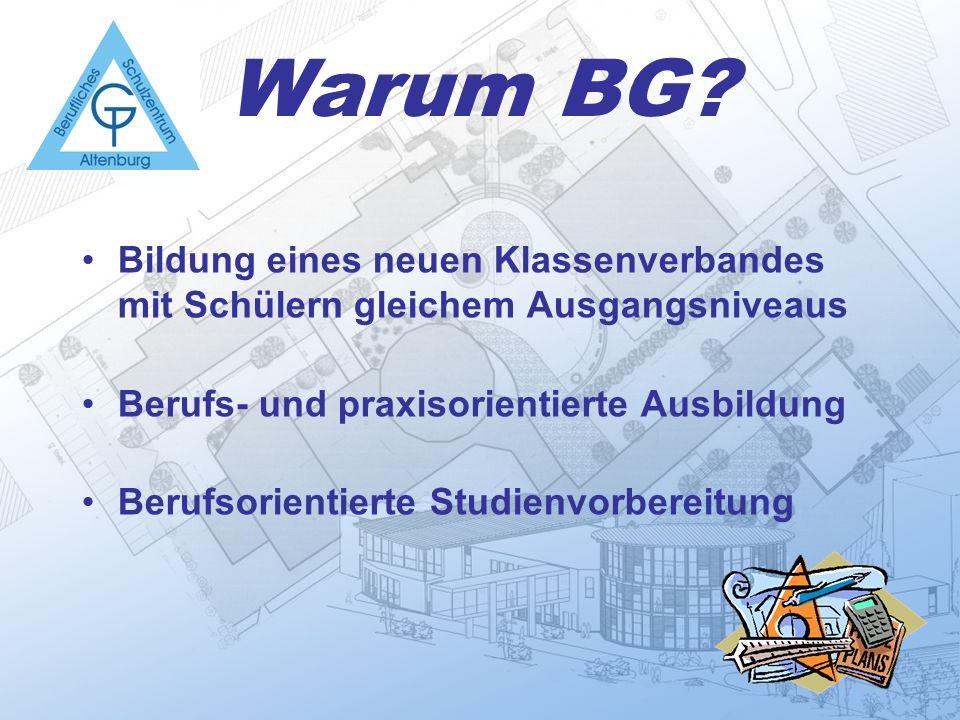 Warum BG? Bildung eines neuen Klassenverbandes mit Schülern gleichem Ausgangsniveaus Berufs- und praxisorientierte Ausbildung Berufsorientierte Studie