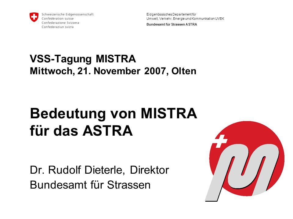 Eidgenössisches Departement für Umwelt, Verkehr, Energie und Kommunikation UVEK Bundesamt für Strassen ASTRA VSS-Tagung MISTRA Mittwoch, 21. November