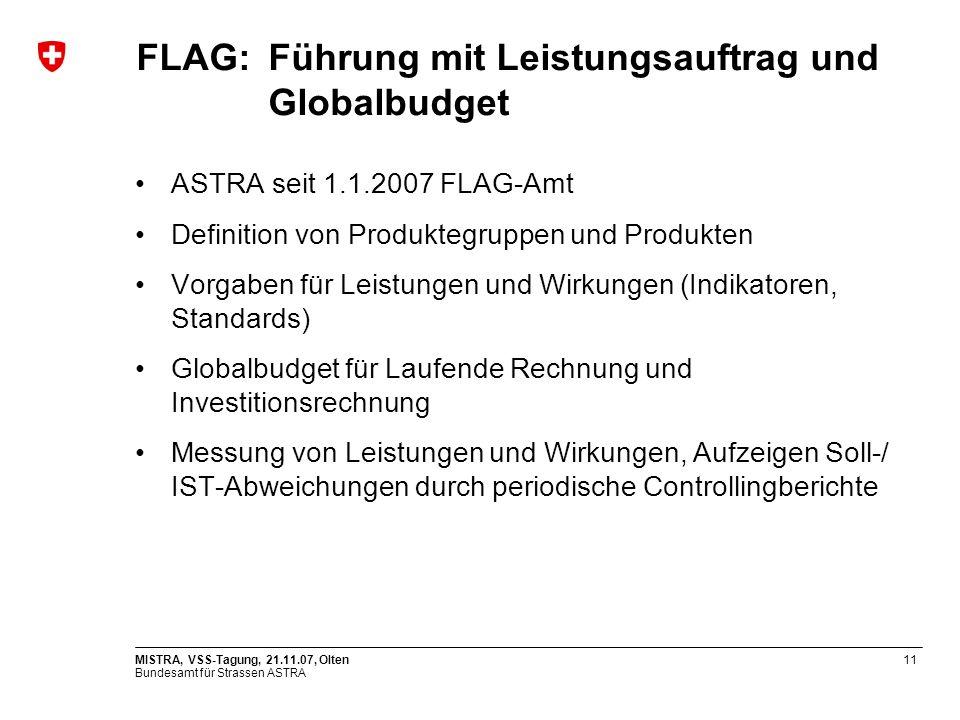 Bundesamt für Strassen ASTRA MISTRA, VSS-Tagung, 21.11.07, Olten11 FLAG: Führung mit Leistungsauftrag und Globalbudget ASTRA seit 1.1.2007 FLAG-Amt De