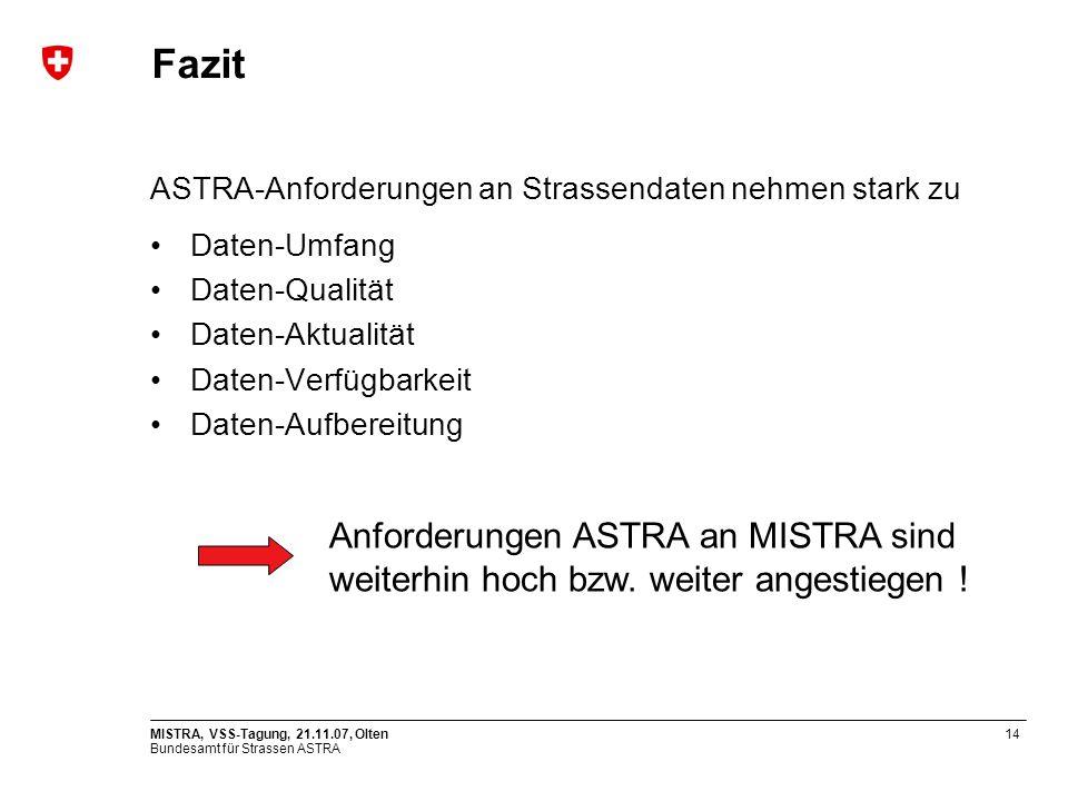 Bundesamt für Strassen ASTRA MISTRA, VSS-Tagung, 21.11.07, Olten14 Fazit ASTRA-Anforderungen an Strassendaten nehmen stark zu Daten-Umfang Daten-Qualität Daten-Aktualität Daten-Verfügbarkeit Daten-Aufbereitung Anforderungen ASTRA an MISTRA sind weiterhin hoch bzw.