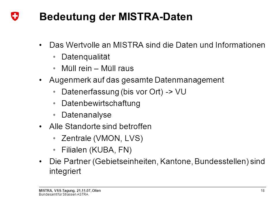 Bundesamt für Strassen ASTRA MISTRA, VSS-Tagung, 21.11.07, Olten18 Bedeutung der MISTRA-Daten Das Wertvolle an MISTRA sind die Daten und Informationen Datenqualität Müll rein – Müll raus Augenmerk auf das gesamte Datenmanagement Datenerfassung (bis vor Ort) -> VU Datenbewirtschaftung Datenanalyse Alle Standorte sind betroffen Zentrale (VMON, LVS) Filialen (KUBA, FN) Die Partner (Gebietseinheiten, Kantone, Bundesstellen) sind integriert
