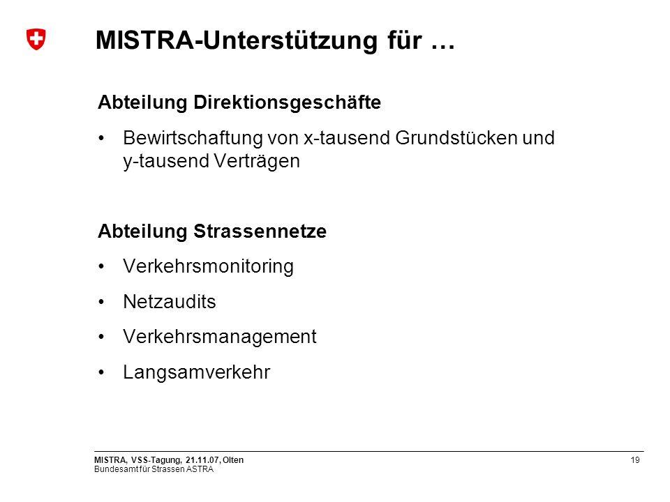 Bundesamt für Strassen ASTRA MISTRA, VSS-Tagung, 21.11.07, Olten19 Abteilung Direktionsgeschäfte Bewirtschaftung von x-tausend Grundstücken und y-taus