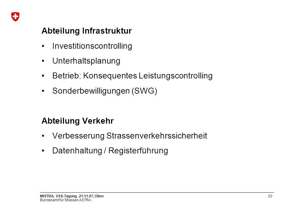 Bundesamt für Strassen ASTRA MISTRA, VSS-Tagung, 21.11.07, Olten20 Abteilung Infrastruktur Investitionscontrolling Unterhaltsplanung Betrieb: Konseque