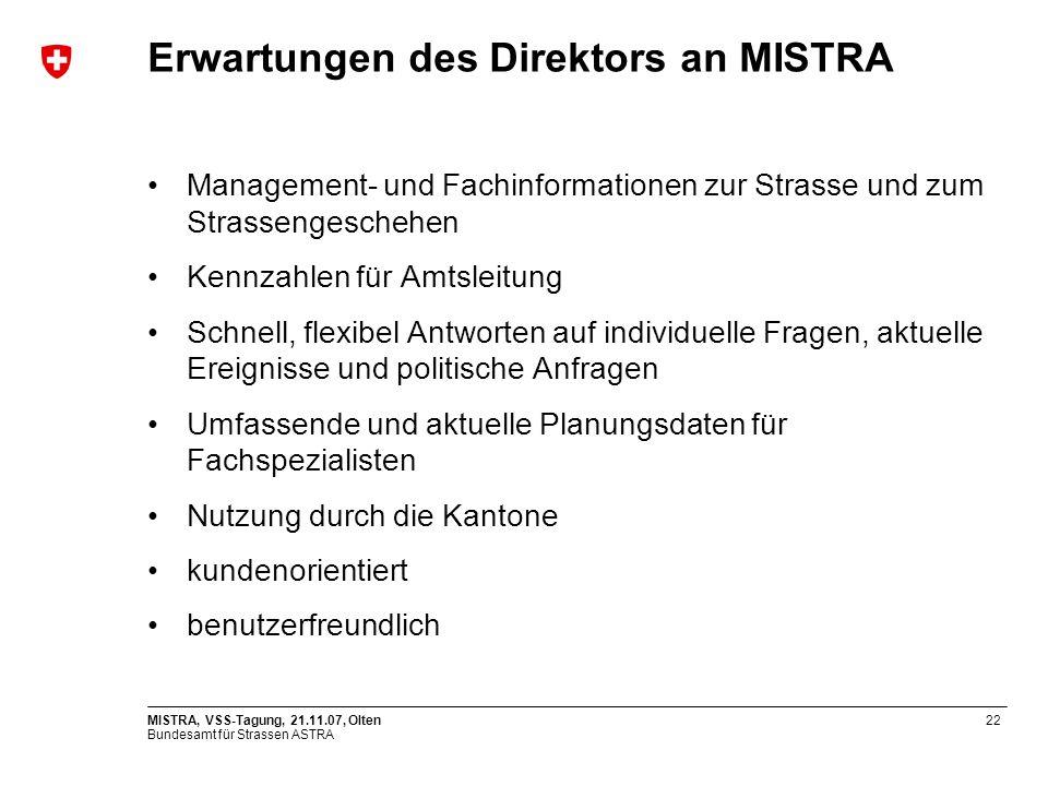 Bundesamt für Strassen ASTRA MISTRA, VSS-Tagung, 21.11.07, Olten22 Erwartungen des Direktors an MISTRA Management- und Fachinformationen zur Strasse u