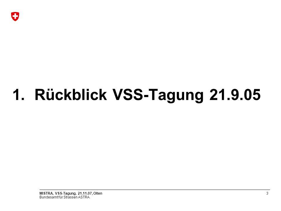Bundesamt für Strassen ASTRA MISTRA, VSS-Tagung, 21.11.07, Olten3 1.Rückblick VSS-Tagung 21.9.05