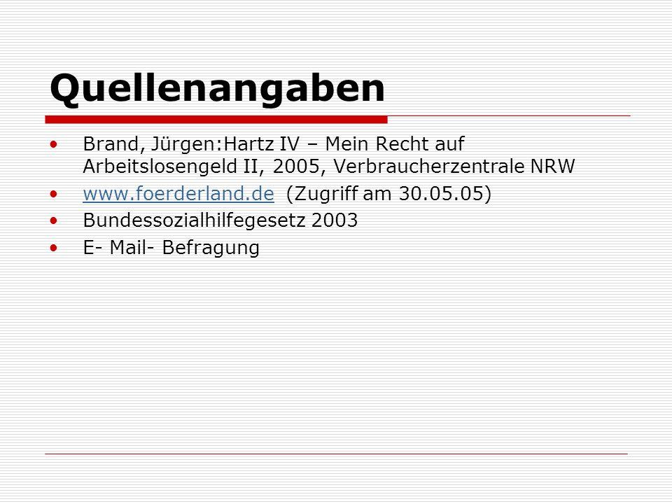 Quellenangaben Brand, Jürgen:Hartz IV – Mein Recht auf Arbeitslosengeld II, 2005, Verbraucherzentrale NRW www.foerderland.de (Zugriff am 30.05.05)www.foerderland.de Bundessozialhilfegesetz 2003 E- Mail- Befragung