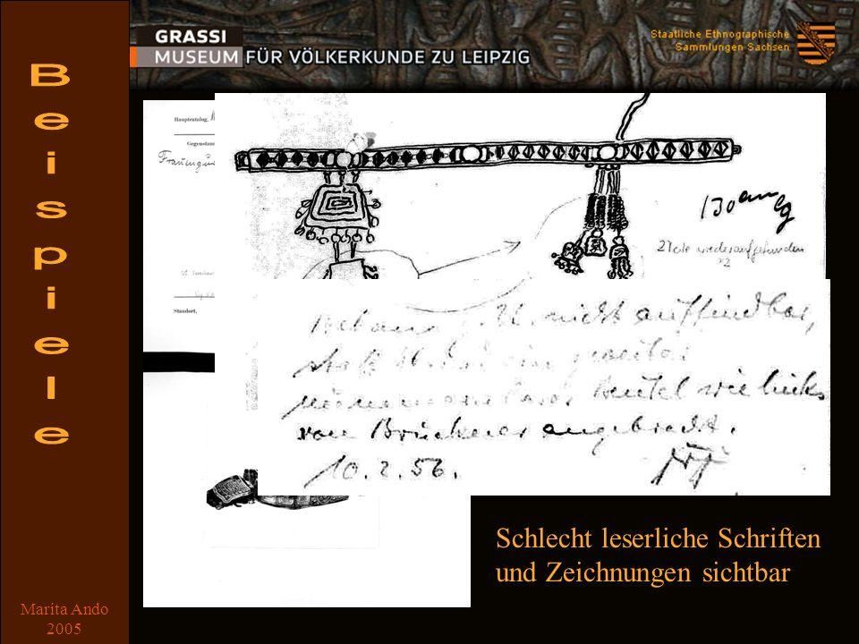 Marita Ando 2005 Beispiel 7 Schlecht leserliche Schriften und Zeichnungen sichtbar