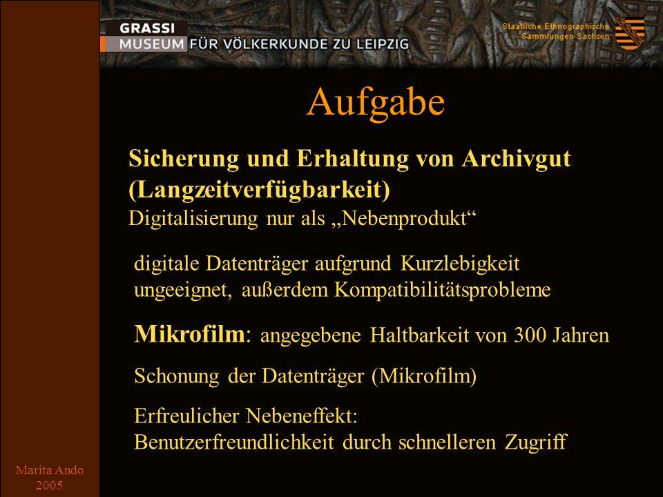 Marita Ando 2005 Ausgangslage Archivgut Briefe, Kauf- und Schenkungsunterlagen, Tagebücher, Notizen etc.