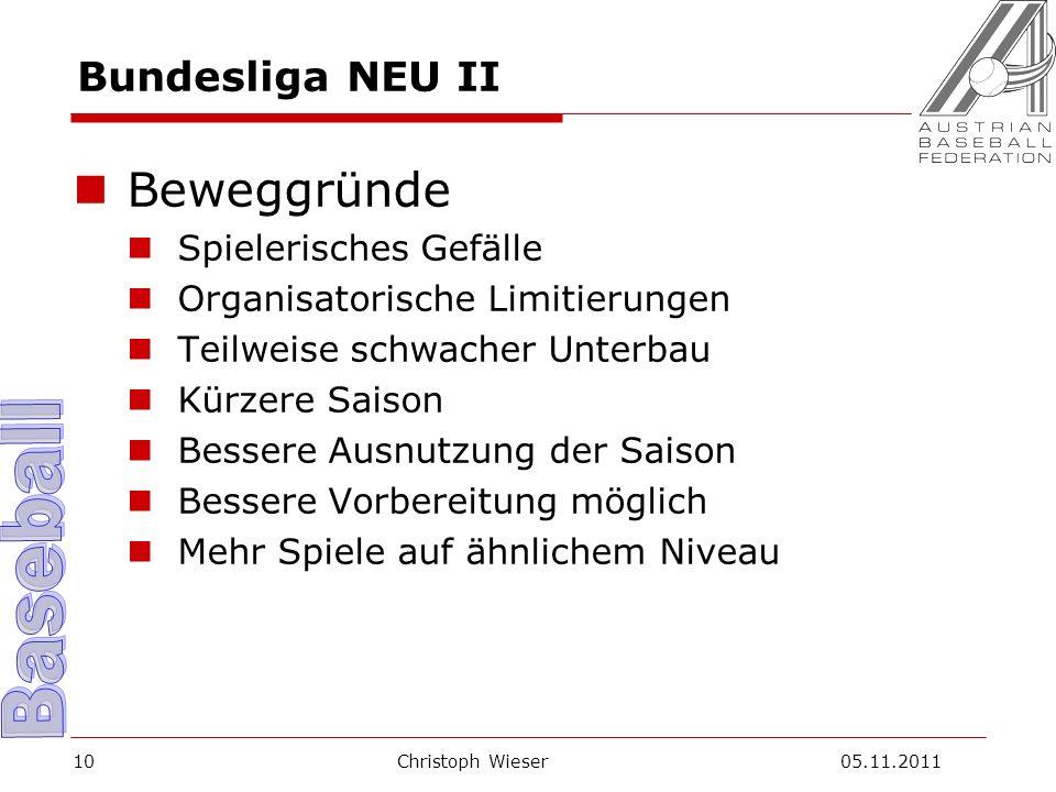 Christoph Wieser 05.11.201110 Bundesliga NEU II Beweggründe Spielerisches Gefälle Organisatorische Limitierungen Teilweise schwacher Unterbau Kürzere Saison Bessere Ausnutzung der Saison Bessere Vorbereitung möglich Mehr Spiele auf ähnlichem Niveau