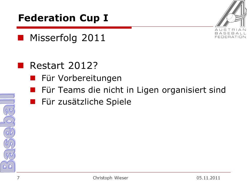 Christoph Wieser 05.11.20117 Federation Cup I Misserfolg 2011 Restart 2012.