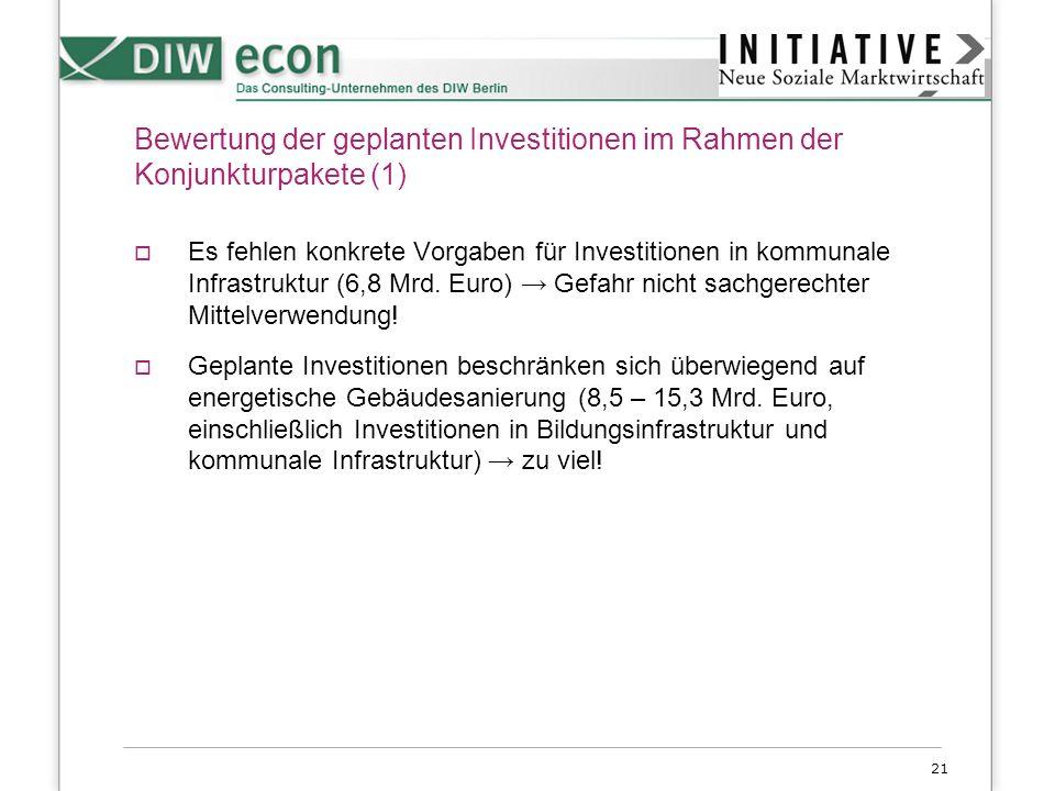 21 Bewertung der geplanten Investitionen im Rahmen der Konjunkturpakete (1) Es fehlen konkrete Vorgaben für Investitionen in kommunale Infrastruktur (