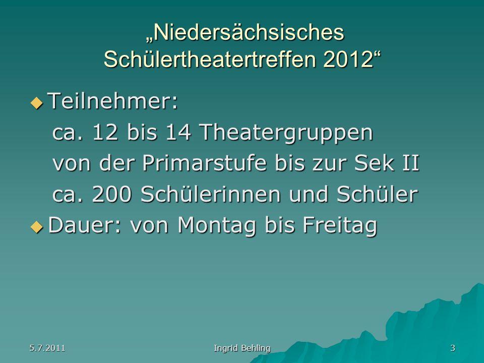 5.7.2011 Ingrid Behling 3 Niedersächsisches Schülertheatertreffen 2012 Niedersächsisches Schülertheatertreffen 2012 Teilnehmer: Teilnehmer: ca.
