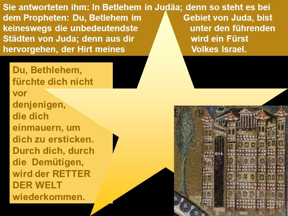 Sie antworteten ihm: In Betlehem in Judäa; denn so steht es bei dem Propheten: Du, Betlehem im Gebiet von Juda, bist keineswegs die unbedeutendste unter den führenden Städten von Juda; denn aus dir wird ein Fürst hervorgehen, der Hirt meines Volkes Israel.