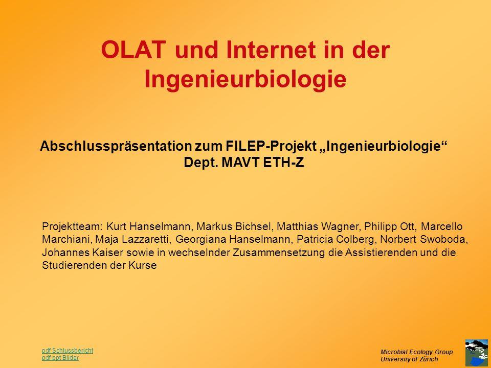 Microbial Ecology Group University of Zürich OLAT und Internet in der Ingenieurbiologie Abschlusspräsentation zum FILEP-Projekt Ingenieurbiologie Dept