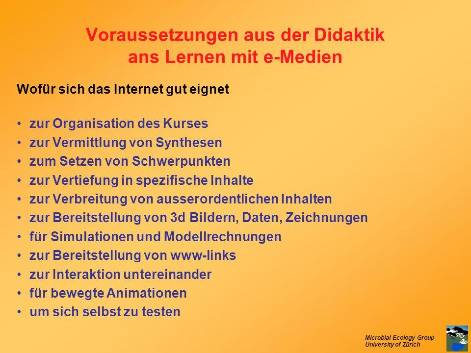 Microbial Ecology Group University of Zürich Voraussetzungen aus der Didaktik ans Lernen mit e-Medien Wofür sich das Internet gut eignet zur Organisat