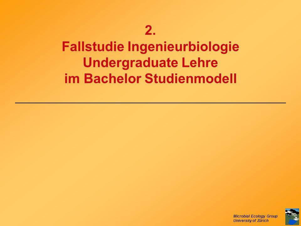 Microbial Ecology Group University of Zürich 2. Fallstudie Ingenieurbiologie Undergraduate Lehre im Bachelor Studienmodell