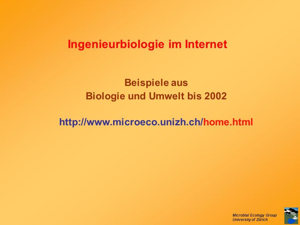 Microbial Ecology Group University of Zürich Ingenieurbiologie im Internet Beispiele aus Biologie und Umwelt bis 2002 http://www.microeco.unizh.ch/hom