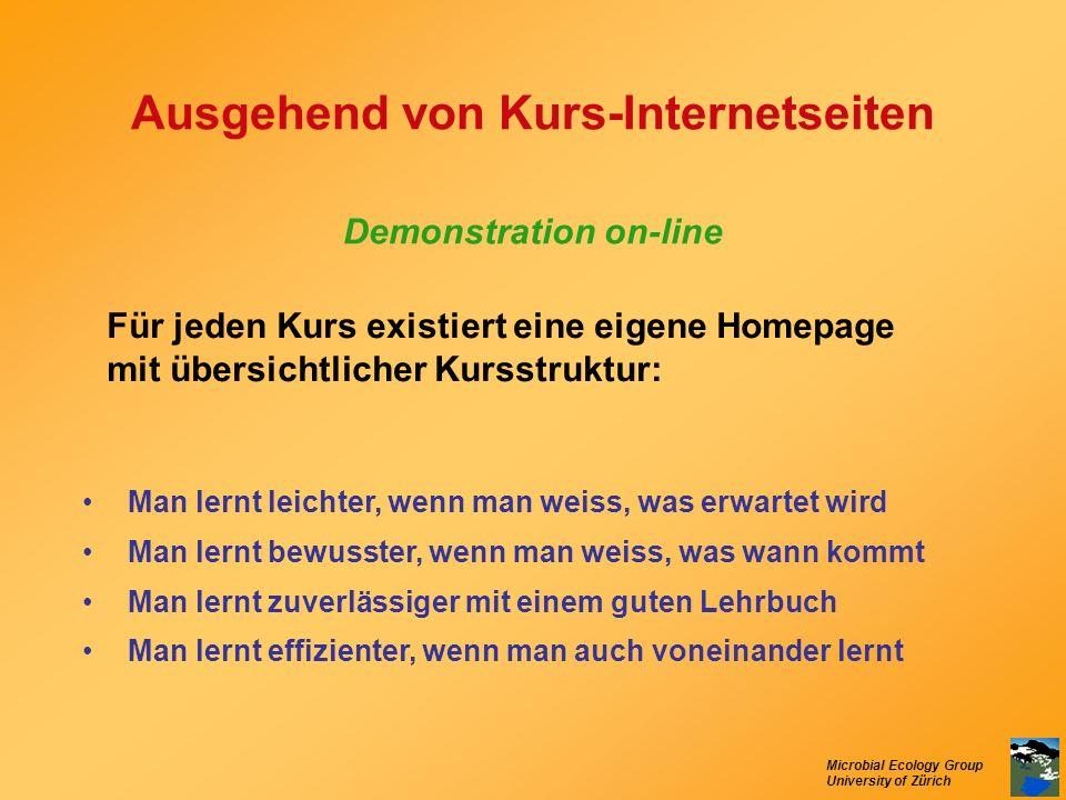 Microbial Ecology Group University of Zürich Ausgehend von Kurs-Internetseiten Demonstration on-line Man lernt leichter, wenn man weiss, was erwartet