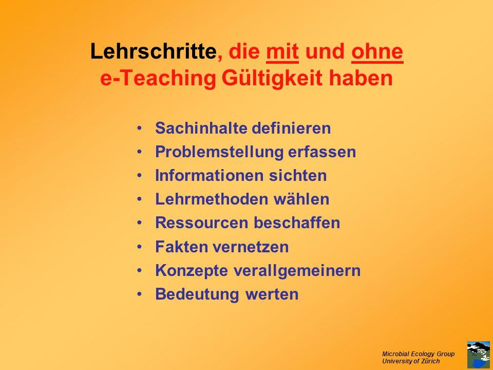 Microbial Ecology Group University of Zürich Lehrschritte, die mit und ohne e-Teaching Gültigkeit haben Sachinhalte definieren Problemstellung erfasse