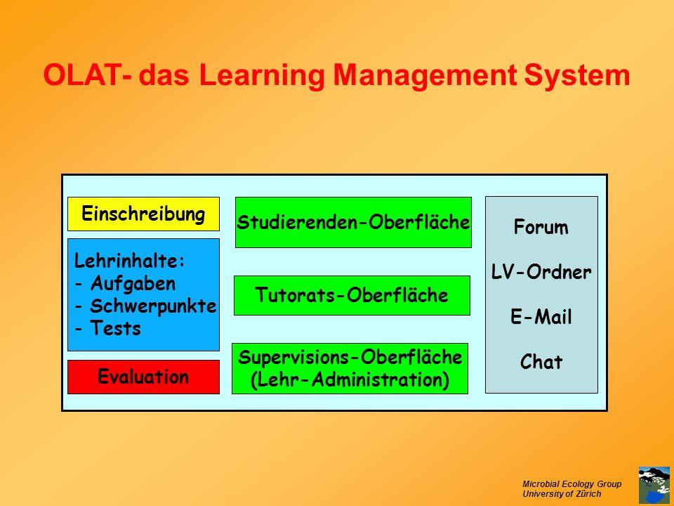 Microbial Ecology Group University of Zürich OLAT- das Learning Management System Studierenden-Oberfläche Tutorats-Oberfläche Supervisions-Oberfläche