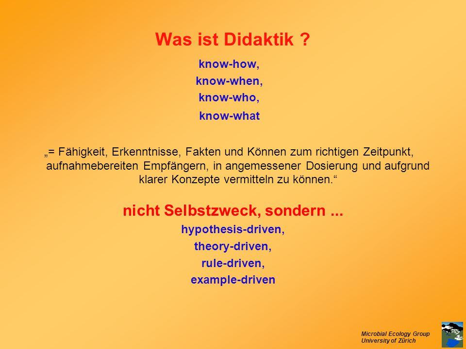 Microbial Ecology Group University of Zürich Was ist Didaktik ? know-how, know-when, know-who, know-what = Fähigkeit, Erkenntnisse, Fakten und Können