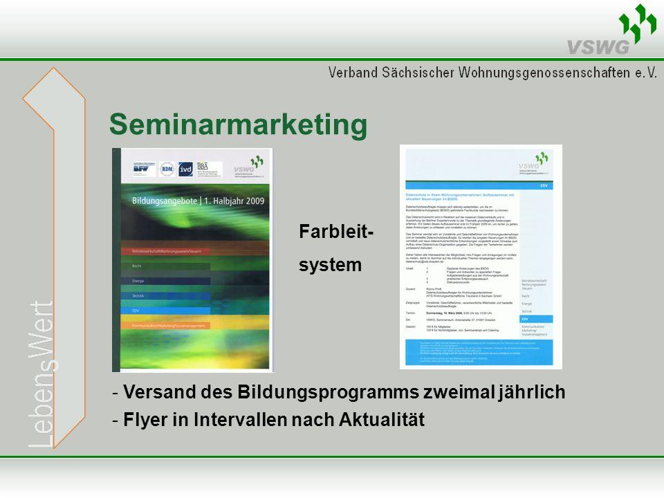 Seminarmarketing - Versand des Bildungsprogramms zweimal jährlich - Flyer in Intervallen nach Aktualität Farbleit- system