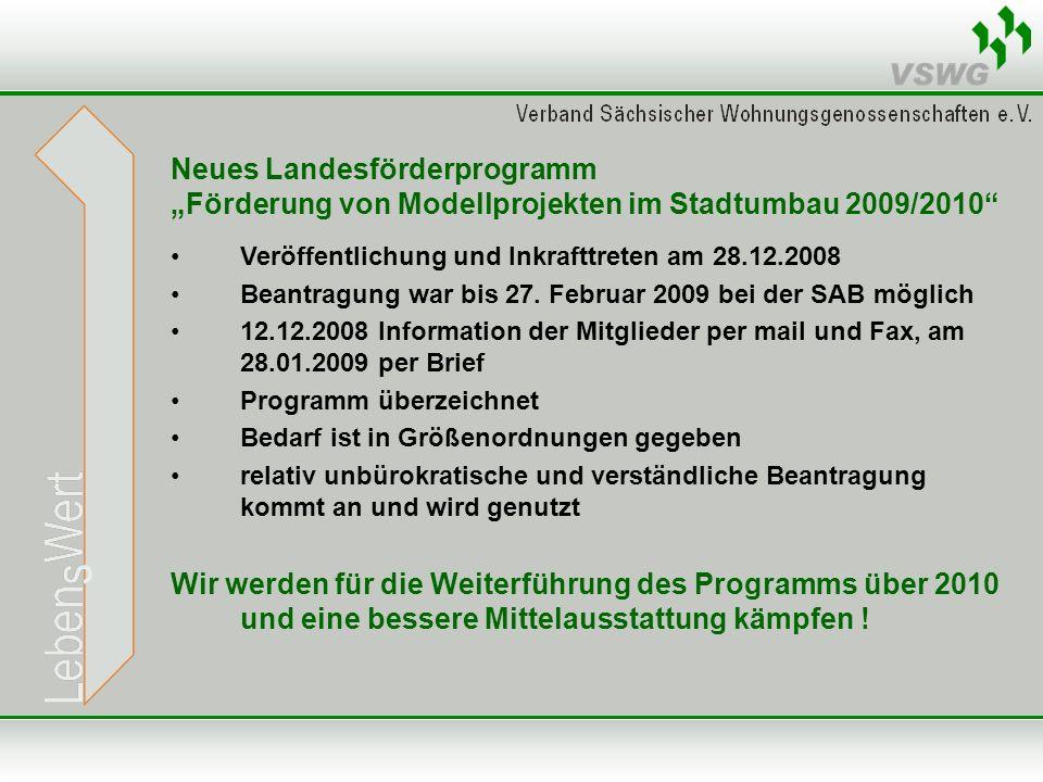 Neues Landesförderprogramm Förderung von Modellprojekten im Stadtumbau 2009/2010 Veröffentlichung und Inkrafttreten am 28.12.2008 Beantragung war bis 27.