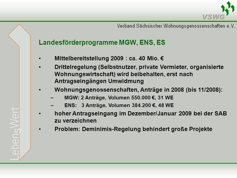 Landesförderprogramme MGW, ENS, ES Mittelbereitstellung 2009 : ca.