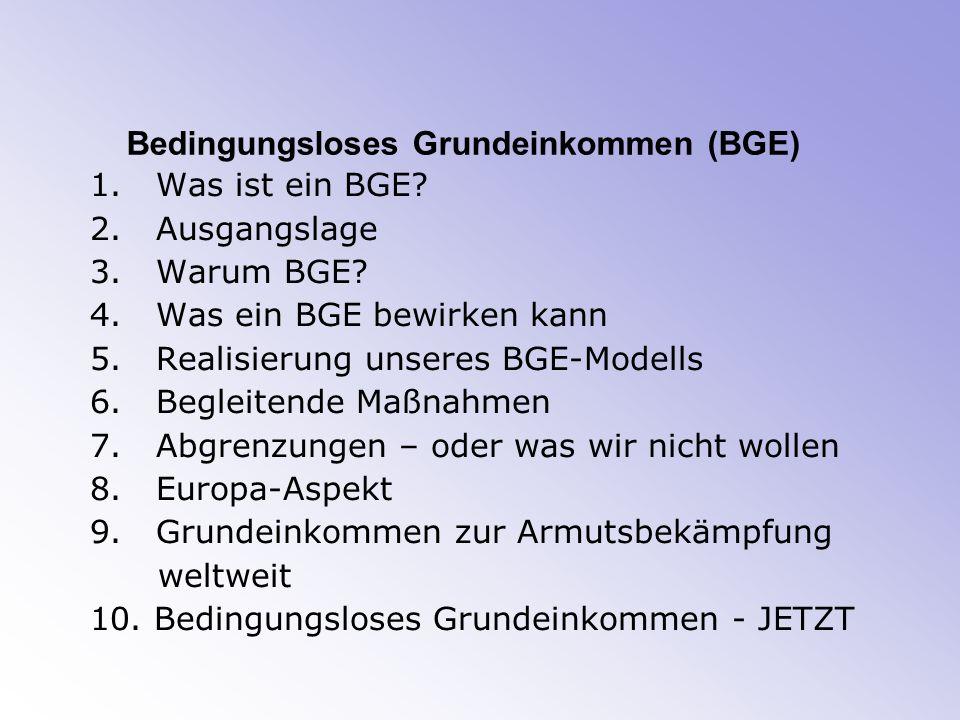 Bedingungsloses Grundeinkommen (BGE) 1.Was ist ein BGE.