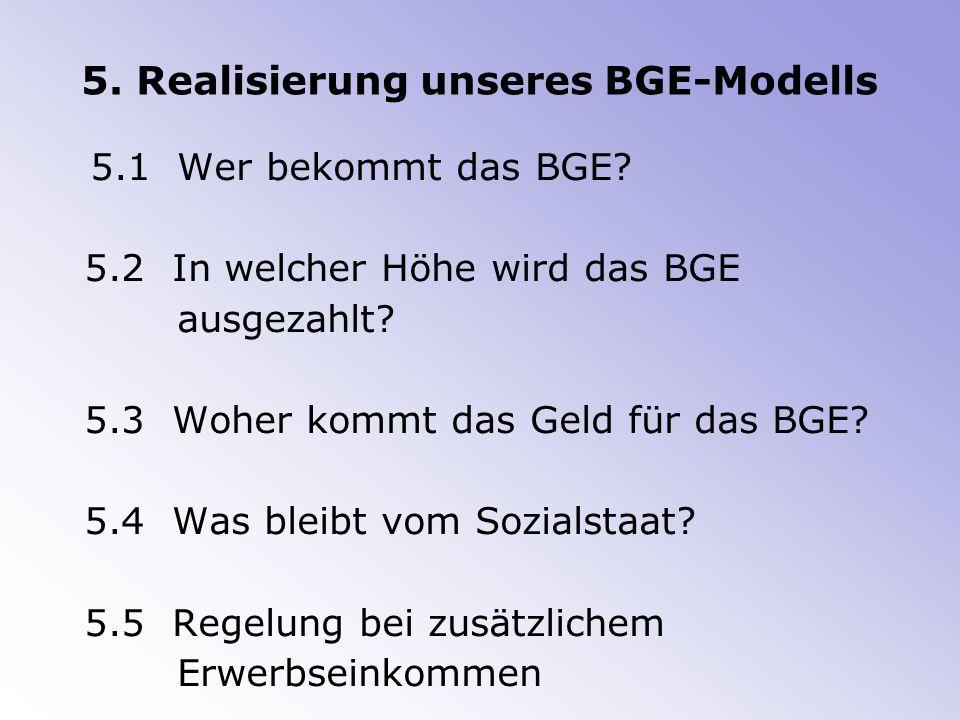 5.Realisierung unseres BGE-Modells 5.1 Wer bekommt das BGE.