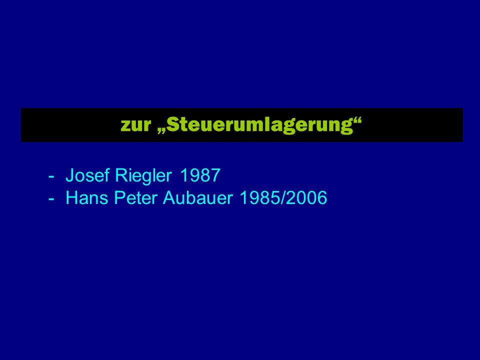 zur Steuerumlagerung - Josef Riegler 1987 - Hans Peter Aubauer 1985/2006